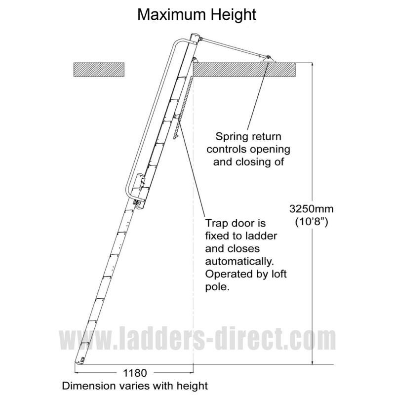 Clow Heavy Duty Sliding Loft Ladder Ladders Direct Com