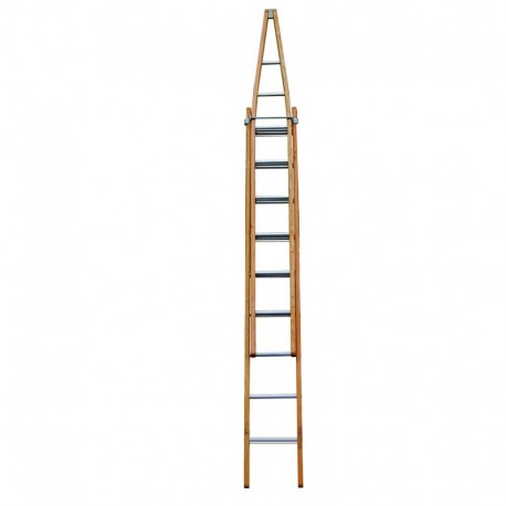 Clow Light Trade Wire Reinforced Pointer Window Cleaner's Timber Extension Ladder (Dual Section)