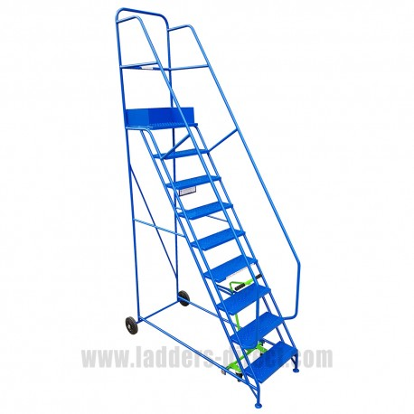 Mobile Warehouse Steps - 9 tread blue