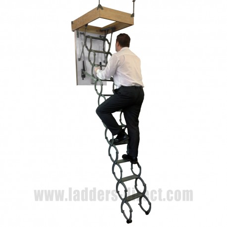 Clow Metal Scissor Loft Ladder with Hatch Box