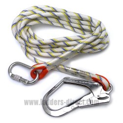 7m Rope Lanyard with Snap Hook and Carabiner
