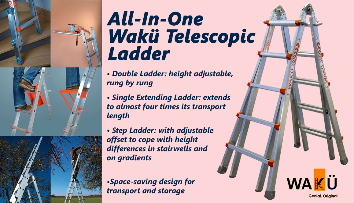 Waku Telescopic Multi-Function Ladders to EN131